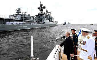 خودنمایی ناوهای ایرانی در بزرگترین رژه نیروی دریایی روسیه